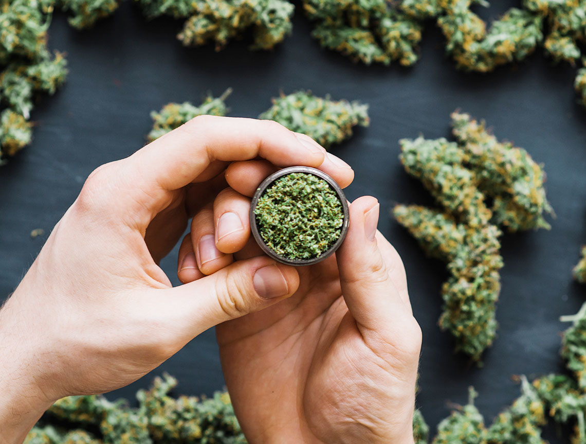 Cannabis Spread Out And Grinder