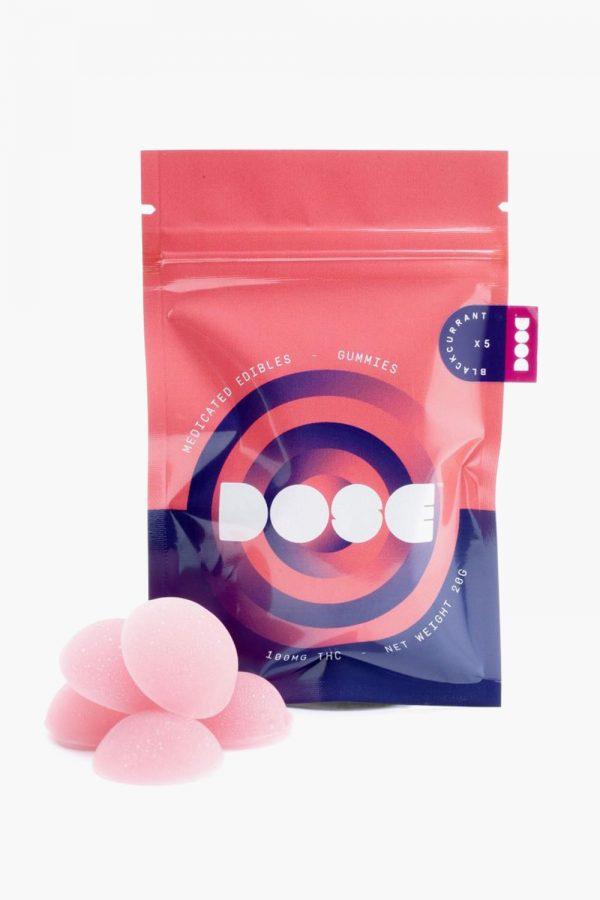 Dose Medicated Blackurrant Gummies 100mg THC