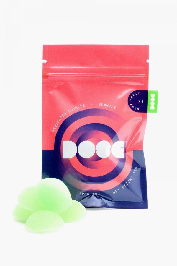 Dose Medicated Kiwi Fruit Gummies 100mg THC