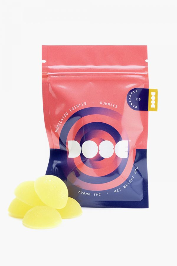 Dose Medicated Pineapple Gummies 100mg THC